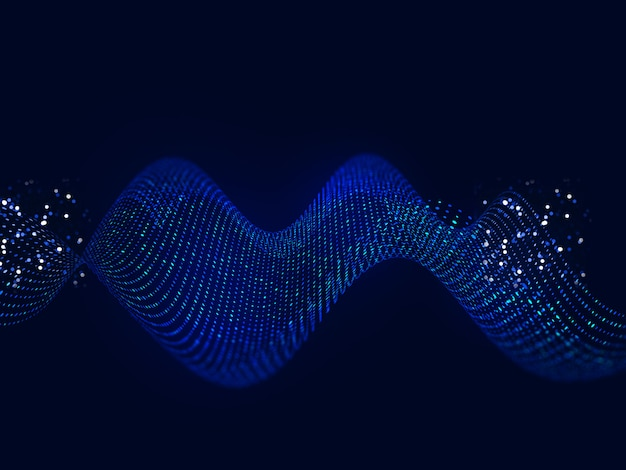 Sfondo di tecnologia digitale con puntini fluenti