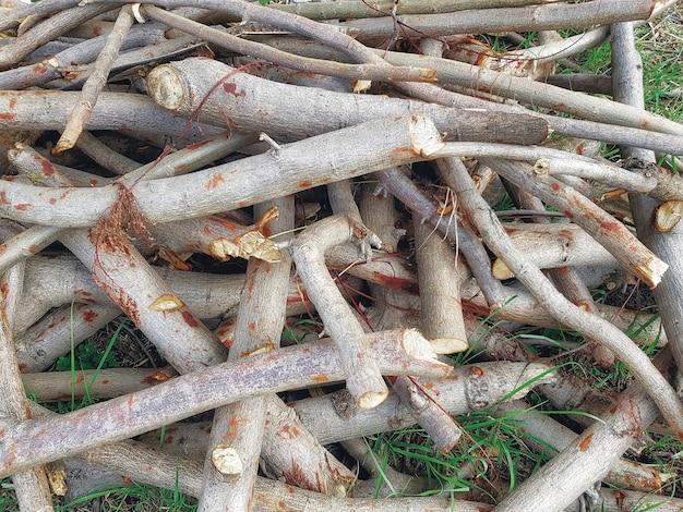 Sfondo di telaio completo di mucchio di ramoscelli di legno tagliato