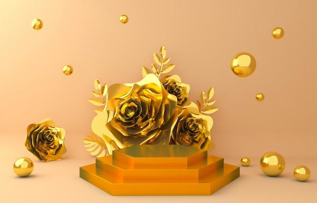 Sfondo display oro per presentazione di prodotti cosmetici. vetrina vuota, rappresentazione dell'illustrazione della carta del fiore 3d.