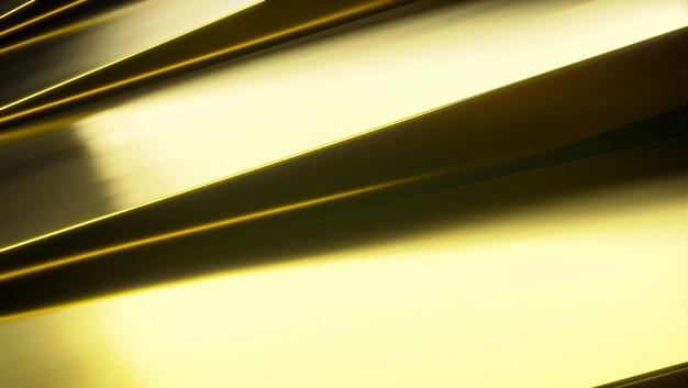 Sfondo dorato astratto in metallo. 3d futuristici rendono l'illustrazione. metallo dorato su una superficie bianca. trama in acciaio. sfondo giallo. shinny metal.