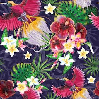 Sfondo estate esotica con uccello paradiso, foglie tropicali e fiori di ibisco.