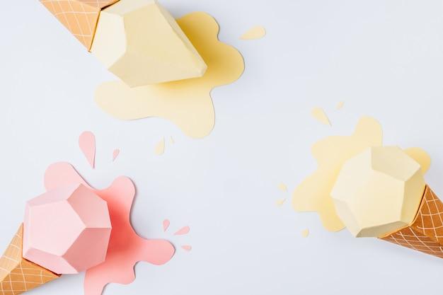 Sfondo estate fatta di miniature di gelato