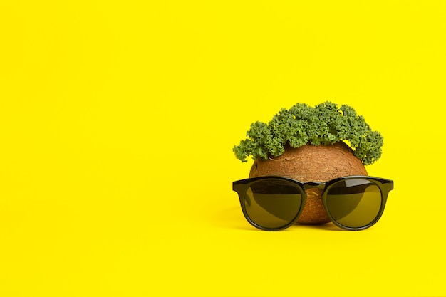 Sfondo estate tropicale. occhiali da sole, cocco e foglie verdi su sfondo giallo. faccia buffa fatta di frutta. concept creativo minimo