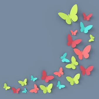 Sfondo farfalla rendering 3d.