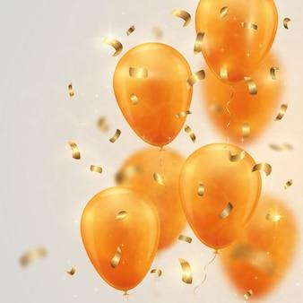 Sfondo festivo con palloncini d'oro e coriandoli.
