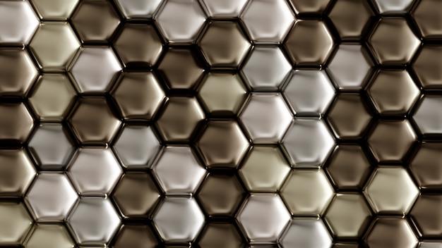 Sfondo geometrico argento con esagoni. rendering 3d.