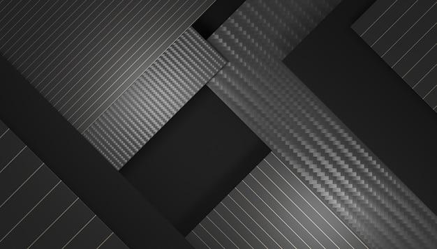 Sfondo geometrico nero e fibra di carbonio