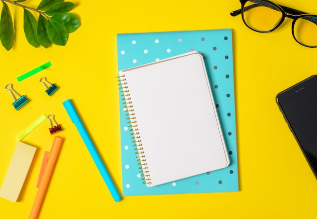 Sfondo giallo, quaderno bianco per dischi, telefono, occhiali per computer, piante ramoscello, penne, matite.
