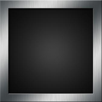Sfondo in fibra di carbonio con un telaio metallico spazzolato