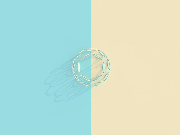 Sfondo in stile piatto laico di una serie di anelli su una superficie bicolore.