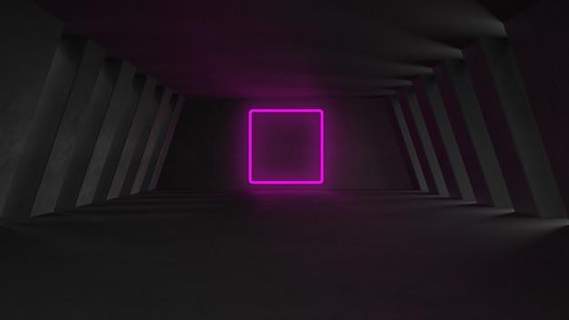 Sfondo incandescente al neon futuristico 3d