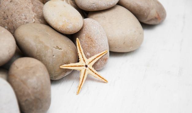 Sfondo marino con ciottoli e stelle marine