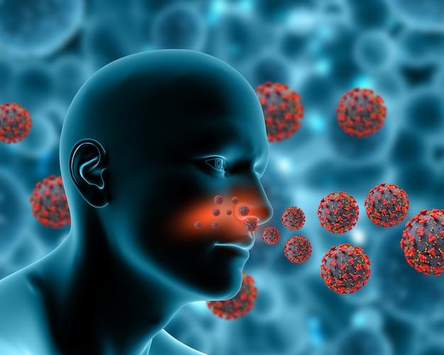 Sfondo medico 3d che mostra le cellule virali di covid 19 che infettano la figura maschile