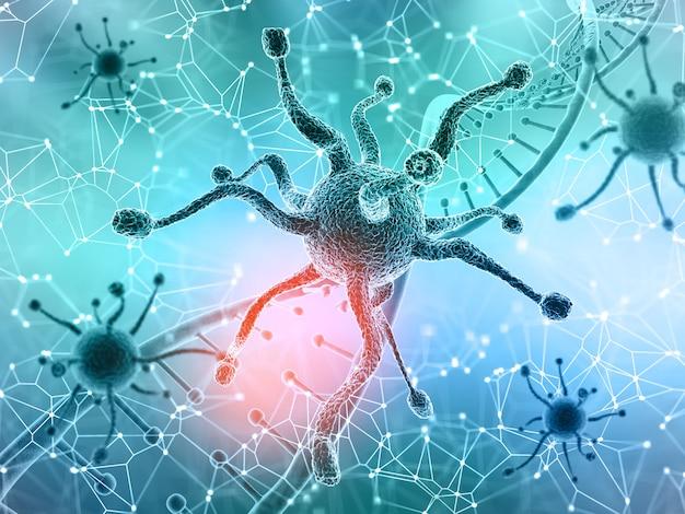 Sfondo medico 3d con cellule di virus e filamenti di dna