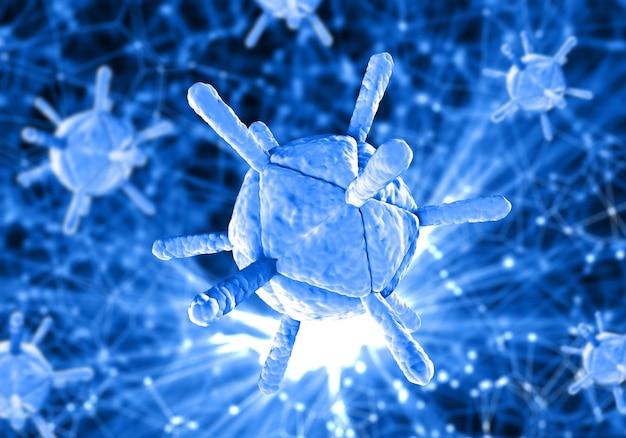 Sfondo medico 3d con cellule virali su poli design sfocato