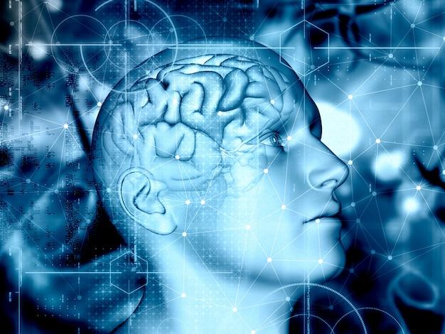 Sfondo medico 3d con figura maschile e cervello evidenziato