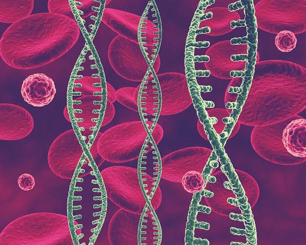 Sfondo medico 3d con filamenti di dna, cellule virali e cellule del sangue