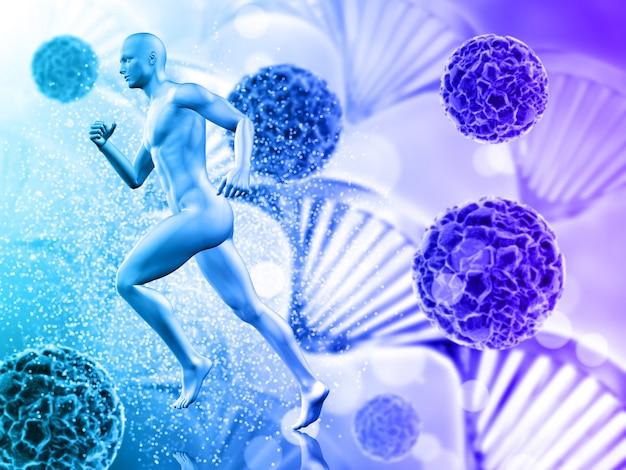 Sfondo medico con figura maschile in esecuzione su cellule di virus