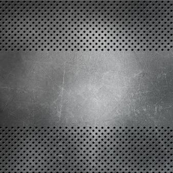 Sfondo metallico perforato con graffi e macchie