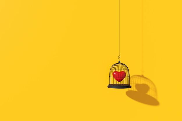 Sfondo minimo del cuore nella gabbia per uccelli. rendering 3d.