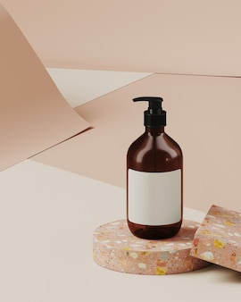 Sfondo minimo per il branding e la presentazione del prodotto. bottiglia cosmetica sul podio terrazzo, su sfondo di rotolo di carta color crema. illustrazione di rendering 3d.