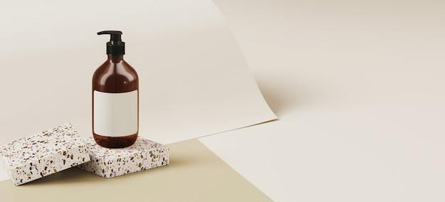 Sfondo minimo per il branding e la presentazione del prodotto. bottiglia cosmetica sul podio terrazzo, sullo sfondo di rotolo di carta color tortora. illustrazione di rendering 3d.
