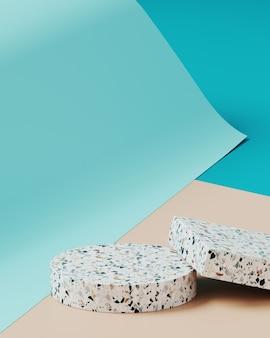 Sfondo minimo per la presentazione del prodotto. bottiglia cosmetica sul podio terrazzo, su sfondo di rotolo di carta color crema e blu. illustrazione di rendering 3d.