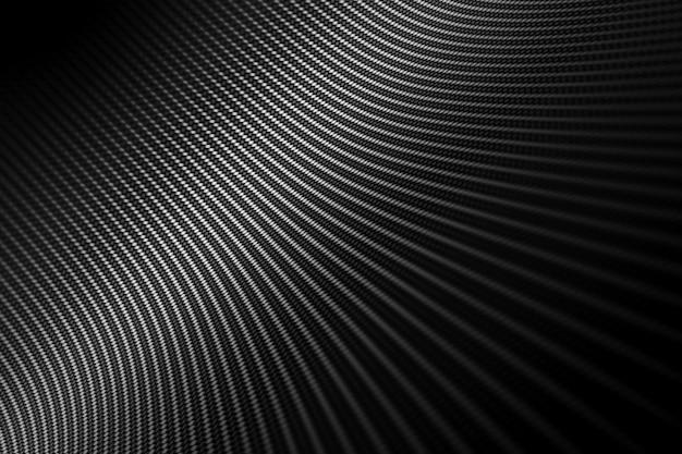 Sfondo moderno con fibra di carbonio nera distorta liscia su superficie sotto l'angolo.
