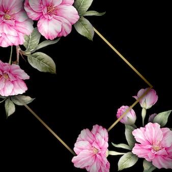 Sfondo nero con fiori di sakura dell'acquerello e cornice elegante