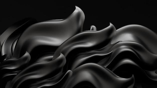 Sfondo nero con tessuto drappeggiato. illustrazione 3d