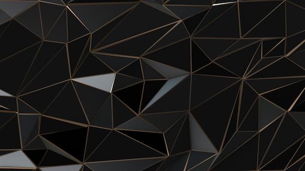Sfondo nero e oro poli basso triangolo astratto