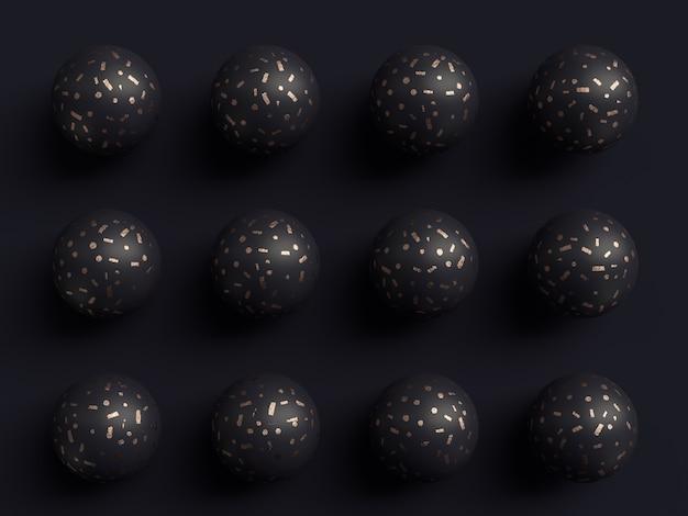 Sfondo nero forma di rame astratto modello di rendering 3d