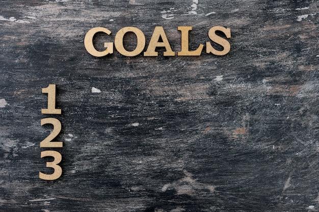 Sfondo nero vintage, obiettivi di parola e numeri
