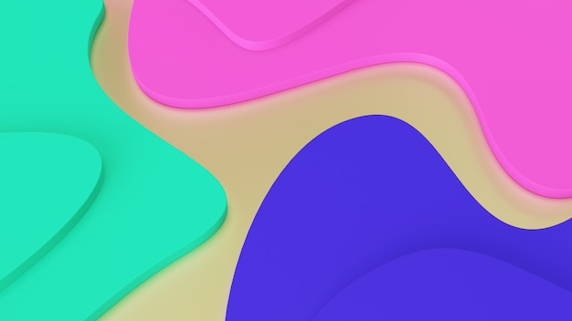 Sfondo onde geometriche astratte di colori alla moda. gradini verdi, rosa e blu. realtà psichedelica e mondi paralleli