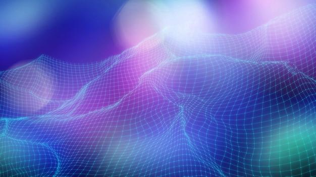 Sfondo paesaggio basso poli 3d con linee e punti di collegamento