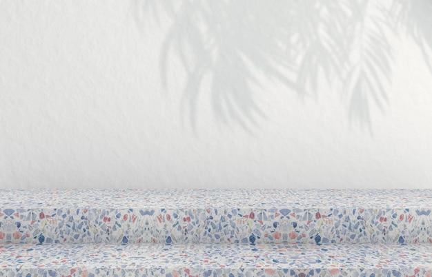 Sfondo per la visualizzazione di prodotti cosmetici. sfondo di moda con trama di terrazzo. rendering 3d.