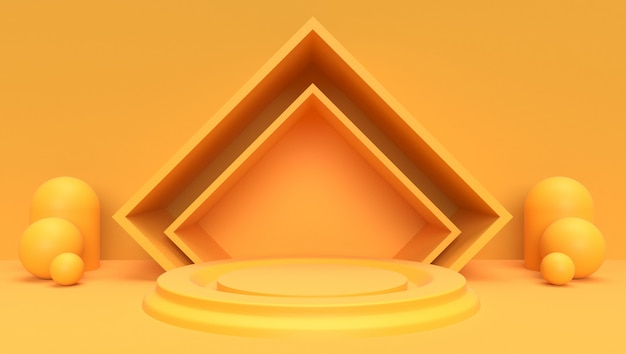 Sfondo rendering 3d di geometrico astratto, scena, podio, palcoscenico e display. tema giallo.