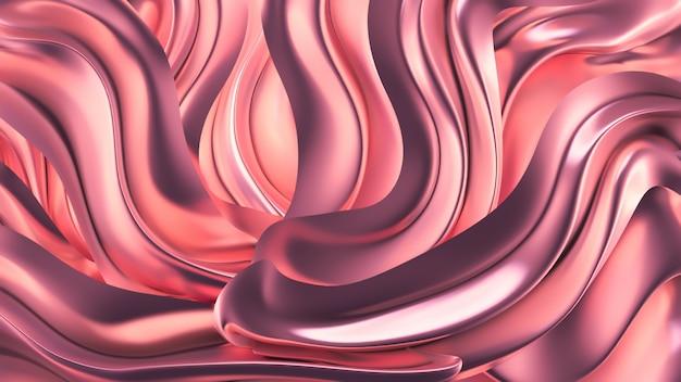 Sfondo rosa di lusso con drappo di perle del tessuto. illustrazione 3d, visualizzazione 3d.