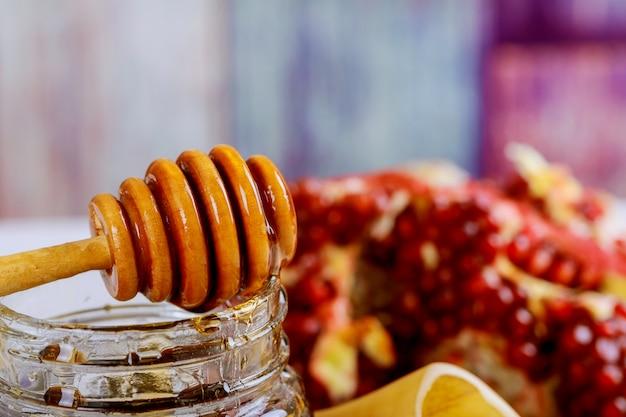 Sfondo rosh hashanah capodanno ebraico. simboli di vacanza tradizionale