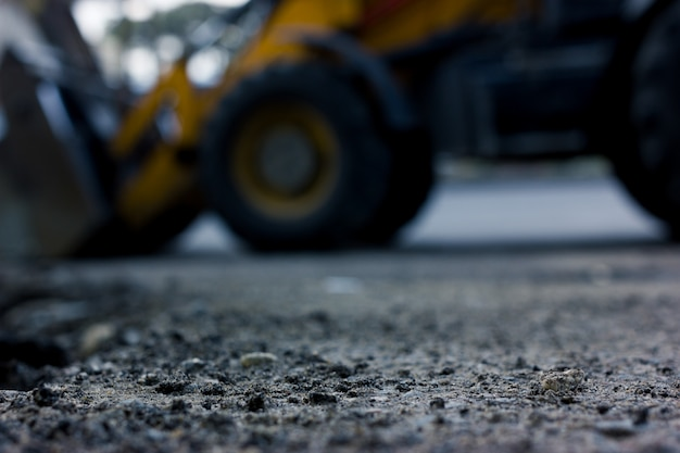 Sfondo sfocato, riparazione strade. costruzione della strada.