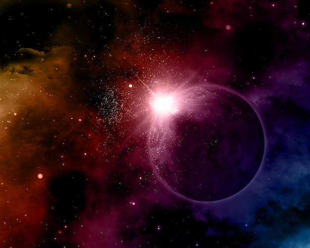Sfondo spazio 3d con pianeta immaginario