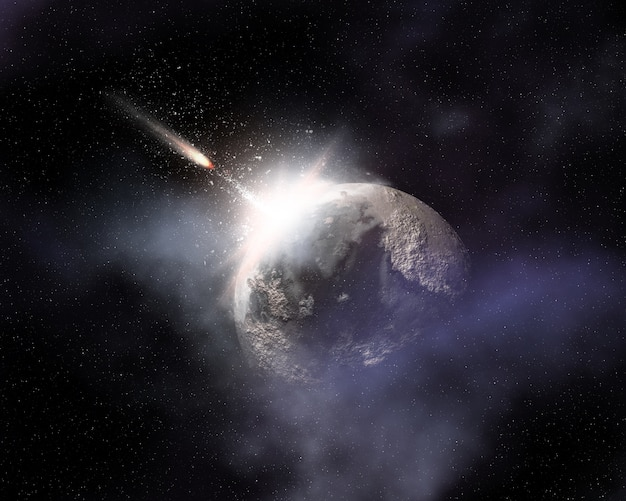 Sfondo spazio immaginario con il volo della cometa verso pianeta immaginario