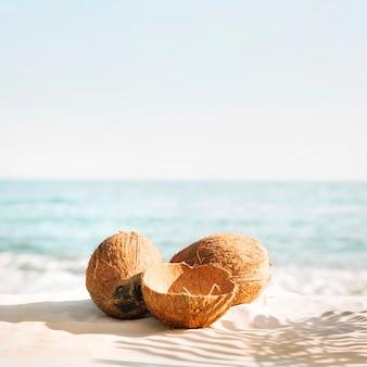 Sfondo spiaggia con tre noci di cocco