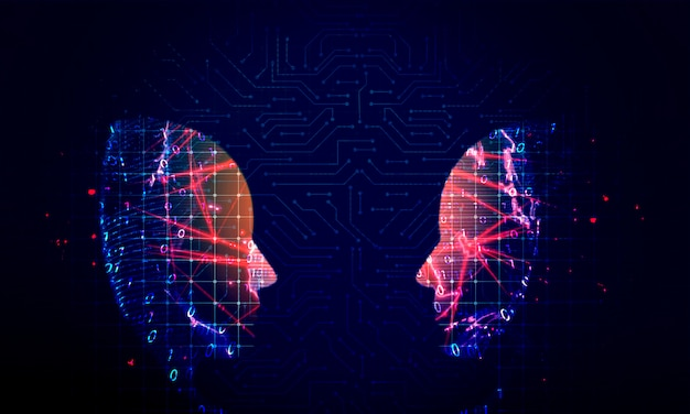 Sfondo tecnologia testa umana