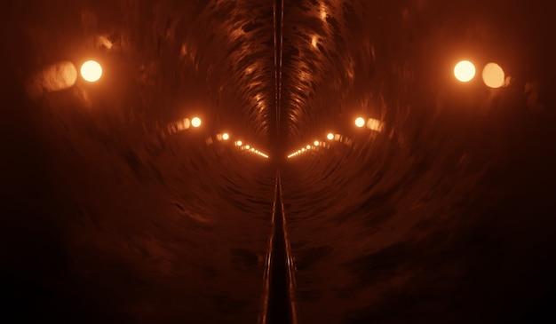 Sfondo tunnel tecnologia sci fi con neon arancione.