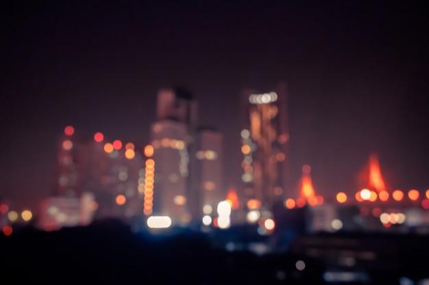 Sfondo vintage bokeh con luce nella città di notte