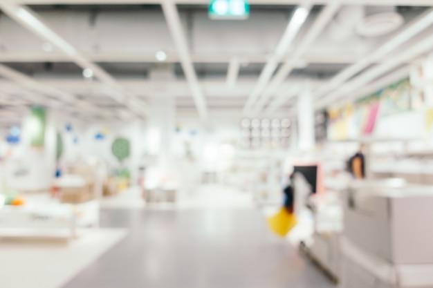 Sfuocatura astratta della decorazione della mobilia e del deposito del magazzino