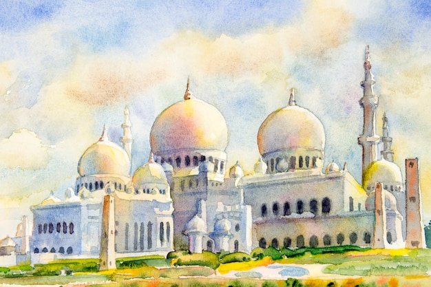 Sheikh zayed grand mosque ad abu dhabi, emirati arabi uniti.