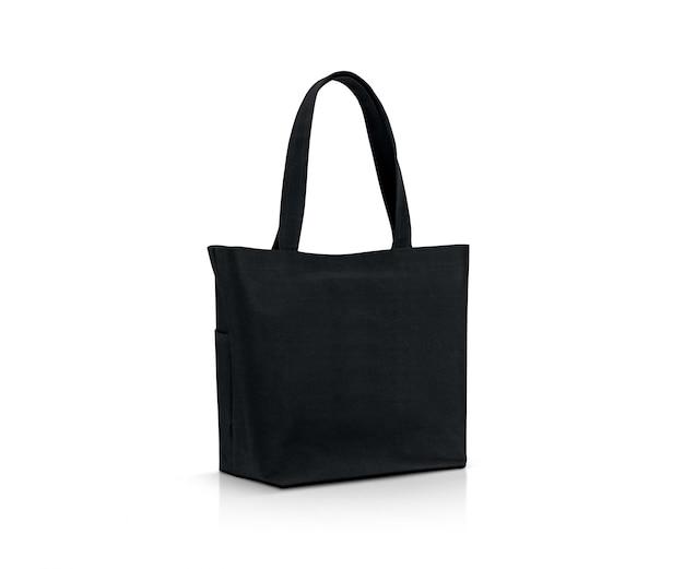 Shopping bag in tessuto nero in bianco per salvare il riscaldamento globale