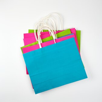 Shopping bags in carta multicolore rettangolare con manici